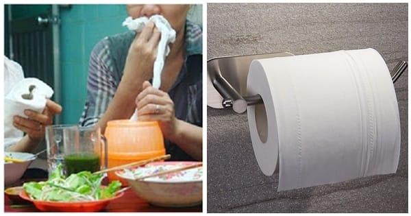 Giấy vệ sinh làm giấy ăn